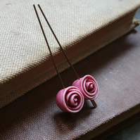 Baby Rose Beads in Dusky Pink - Set of Two