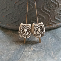 Baby Owl Beads in Latte - Set of Two