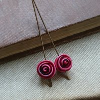 Baby Rose Beads in Berry - Set of Two