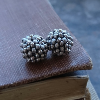 Small Beaded Beads in Rustic Silver - Set of Two