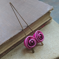 Baby Rose Beads in Fuchsia - Set of Two