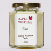 Maple Aromatics Clove Essential Oil and Soy Wax Vegan 220g Candle