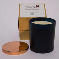 Maple Aromatics Eucalyptus and Orange Blue Glass and Rose Gold Lid 200g Candle