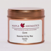 Maple Aromatics Clove Essential Oil and Soy Wax Rose Gold 150g Candle Tin