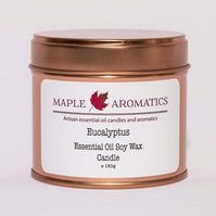 Maple Aromatics Eucalyptus Essential Oil and Soy Wax Rose Gold 150g Candle Tin