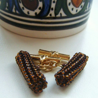 Brown and Gold Cufflinks
