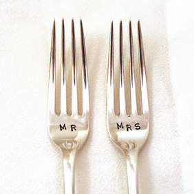 Custom Hand Stamped Vintage MR and MRS forks - Custom with date for Weddings
