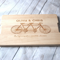 Personalised Couples Gift - Custom Chopping board - Tandem Bike - Weddings -