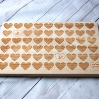Personalised chopping board for couples & family - Custom Cutting board - Heart