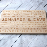 Personalised Couples Gift - Custom Chopping board - Great for Foodies