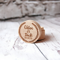 Personalised Wooden Ring Box - Made with the names of your choice - Heart