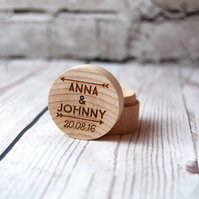 Personalised Wooden Ring Box - Made with the names of your choice - Arrows