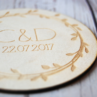 Personalised Couples Wooden coaster - Two coasters - Wedding Gift