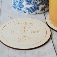 Personalised Couples Wooden coaster - Two coasters - Couples Gift