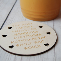 Personalised Mothers Day Gift - Mothers Day Wooden coaster