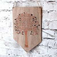 Personalised  Family Tree - Mothers Day Gift - Family sign - Natural Wood