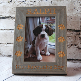 Personalised Wedding Photo Frame - Engraved Wooden frame -For your furbabies 6x4