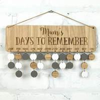 Personalised Days to Remember Sign -  Cherrywood or Oak