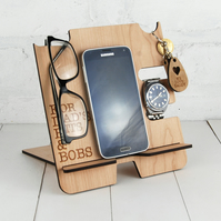 Personalised Docking Station Message of your choice engraved on Oak or Cherry