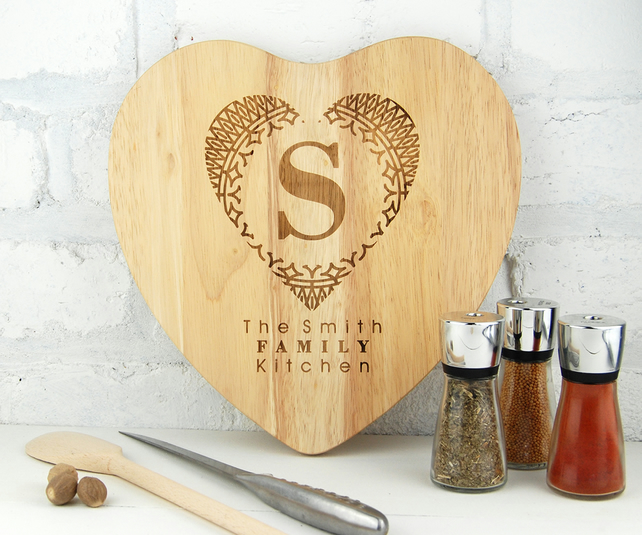 Personalised chopping board Heart shaped Board