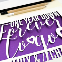 Personalised Papercut First Year wedding anniversary Card
