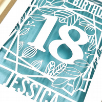 Personalised Papercut Birthday Card Floral design
