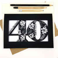 Personalised Papercut 40th Birthday Card Floral design with flowers