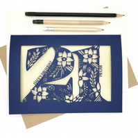 Personalised Papercut 21st Birthday Card Floral design