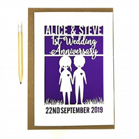 Personalised Wedding anniversary Card. Celebrate your 1st Paper wedding