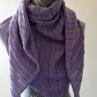 Hand knitted lilac triangular wrap