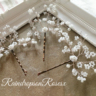 Wedding bobby pins, bun clips, babys breath, gypsophila set of 3, 5 or 10