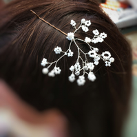 Wedding bobby pins,  babys breath, gypsophila hair pins, bridesmaids, flowergirl
