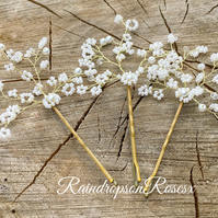 Wedding bobby pins, bun clips, babys breath, gypsophila For blonde hair