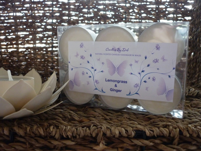 LEMONGRASS & GINGER - NATURAL SOY SCENTED CANDLE - TEA LIGHTS X 6  - 034