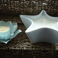 JASMINE & PATCHOULI - NATURAL SOY CANDLES - LARGE WHITE STAR SHAPED BOWL - 0100