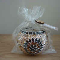 HERITAGE SOY SCENTED CANDLE - HANDMADE TURKISH MOROCCAN DESIGN MOSAIC GLASS BOWL