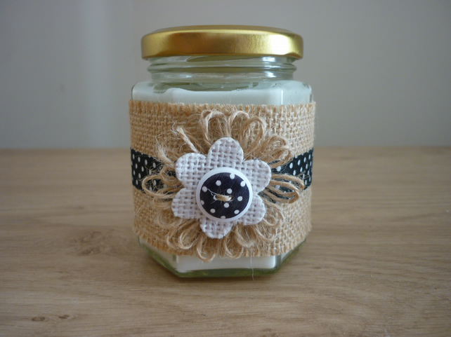 JADE ORCHID & LOTUS - HEXAGON GLASS JAR SOY CANDLE - HESSIAN BLACK & WHITE SPOT