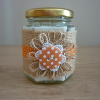 JADE ORCHID & LOTUS - HEXAGON GLASS JAR SOY CANDLE, HESSIAN & ORANGE SPOT.