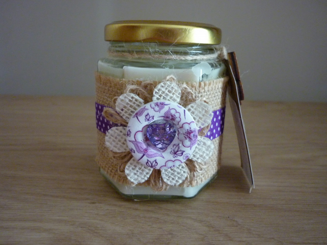 ORANGE & CHILLI - SOY SCENTED CANDLE - HEXAGON GLASS JAR HESSIAN & PINK