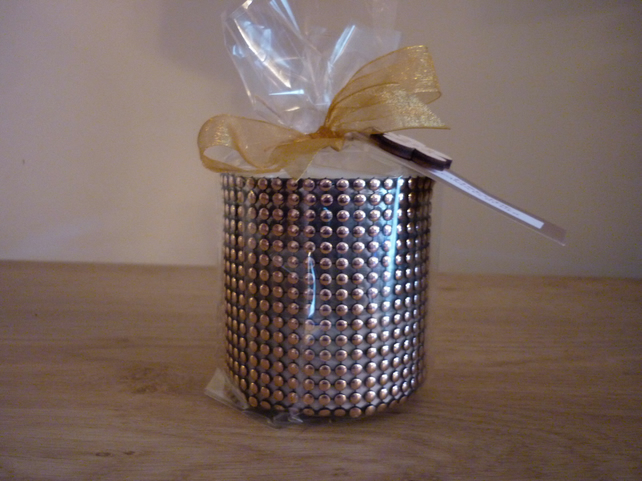 FIRESIDE - NATURAL SOY SCENTED CANDLE - COPPER CANDLE CONTAINER.