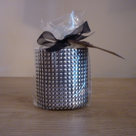 FIRESIDE - NATURAL SOY SCENTED CANDLE - SILVER CANDLE HOLDER