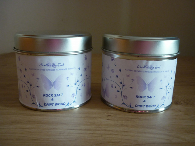 ROCK SALT & DRIFTWOOD - SOY SCENTED CANDLE - MEDIUM TINS