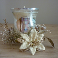 LEMONGRASS & GINGER - SOY CANDLE - GOLD CHRISTMAS CANDLE AND CANDLE HOLDER.