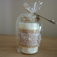 ROCK SALT & DRIFT WOOD - SOY CANDLE - HESSIAN & LACE RECYCLED GLASS JAR CANDLE.