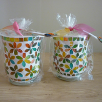 LEMONGRASS & GINGER - SOY CANDLE- MULTI COLOURED GLASS MOSAIC CANDLE HOLDER.
