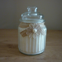 DAMSON PLUM, ROSE & PATCHOULI - SOY CANDLE - VINTAGE DESIGNED GLASS STORAGE JAR