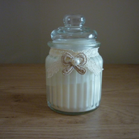 PINK CHAMPAGNE & POMELO - SCENTED SOY CANDLE - VINTAGE GLASS STORAGE JAR CANDLE.