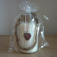 BLACK POMEGRANATE - SOY CANDLE - TALL JAR WITH HANGING ANTIQUE SILVER HEART.
