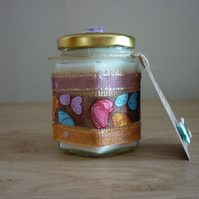 BLUEBERRY & VANILLA - SOY CANDLE - HEXAGON JAR WITH BUTTERFLY SATIN RIBBON.