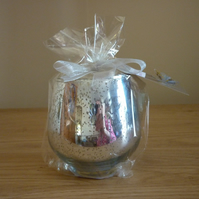 SWEET PEA  -  SCENTED SOY CANDLE  -  SILVER MOTTLED GLASS CANDLE HOLDER